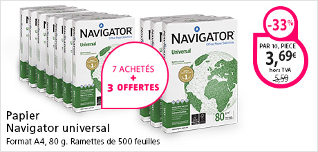 Caisse archives JM Bruneaupier satin Navigator Universal A4 80 g 500 feuilles blanc - Pack de 10 ramettes dont 3 g