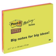 Block 45 neonfarbige Super Sticky Post-it Zettel 203 x 152 mm
