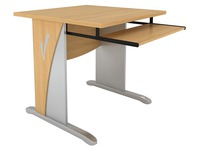 Navis, info desk 80 cm, beech tray, L feet, alu decor