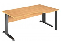 Compact desk, alder top, metallic legs, right angle